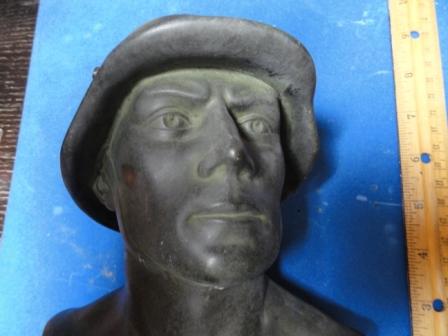 """Bust of Soldier w/ Helmet - made of bronze/metal w/ marble base - inscribed """"Deutscher Reichskriegerbund"""""""