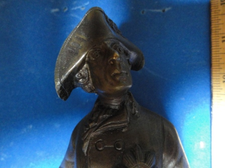 "Decorated Soldier w/ Cane + Sword - bronze(?) w/ marble base - 10"" tall"