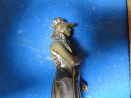 Decorated General w/ top coat, hat, medals - all metal/bronze(?)