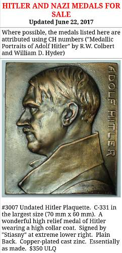 Small Hitler Bust/ Plaque