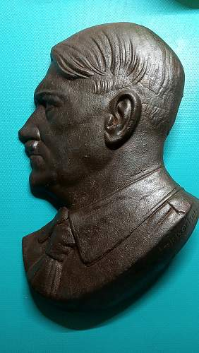 Adolf hitler bust heel relief plaque