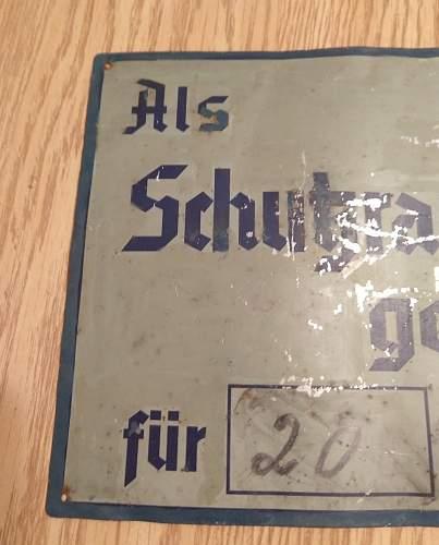 German Air Raid Shelter Sign