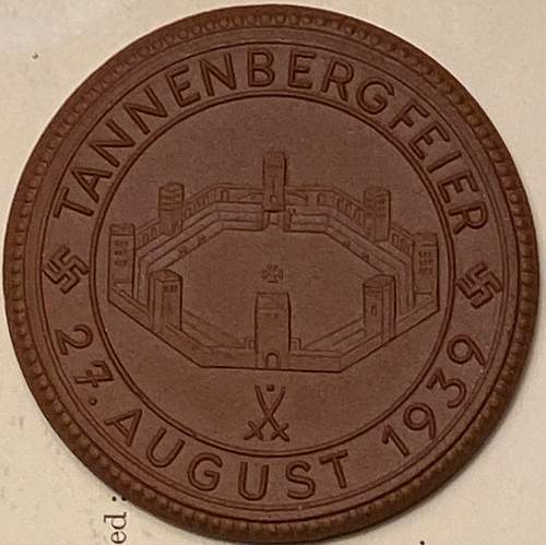 Tannenbergfeier  August 1939 Ceramic Medal 50mm