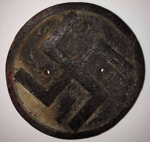 Third reich era home made wooden swastika plaque