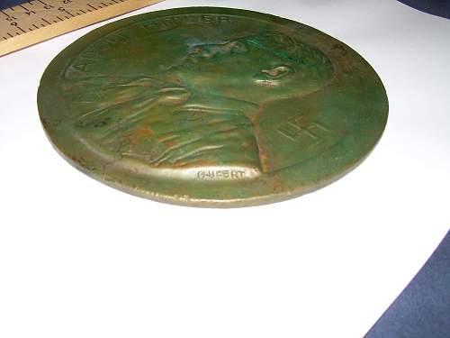 Bronze Plaque of Hitler by O. Ufert - Any info on artist?