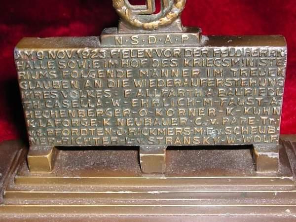 Bronze Memorial of the Blood Order (Feldhernnhalle)