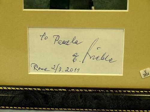 Nazi war criminal Erich Priebke signed picture