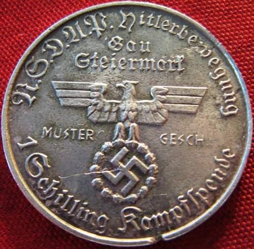Medal/coin  Hitler 1 Schilling Kampfspende - real?