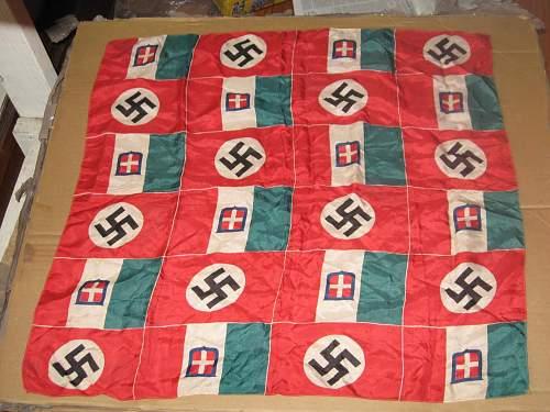 nazi and italian flags checkered silk kerchief