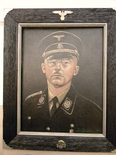 Painting in frame stamped  SS polizei nord lebensborn on the backside. The painting looks lik a bavarian moutain view.