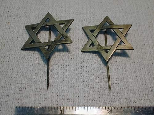 Jewish Cross pins silver pair