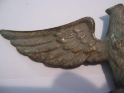 Large metal eagle with swastika