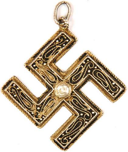 Third Reich era jeweled swastika pendant