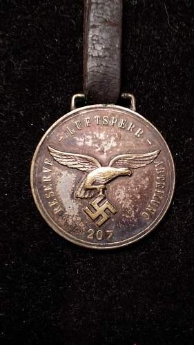 medaille der reserve luftsperr abteilung 207 zur erinnerung an weihnacht 1940