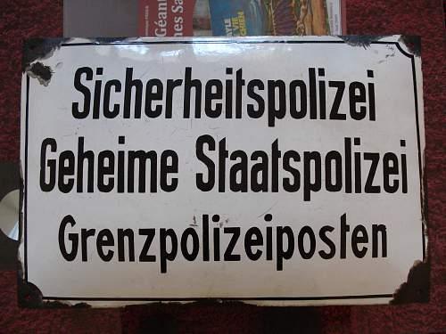 Gestapo enamel sign