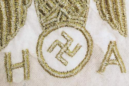 """Need opinions on gold AH """"logo"""" embroidered napkin..."""