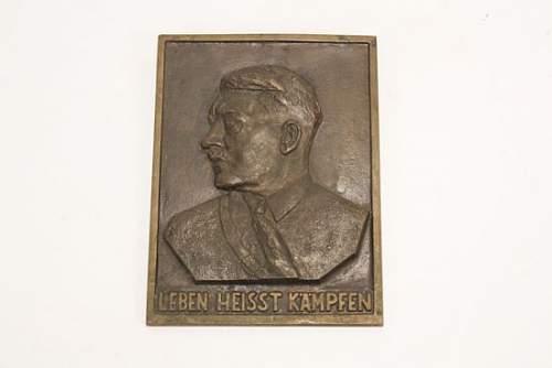 brass hitler wall plaque