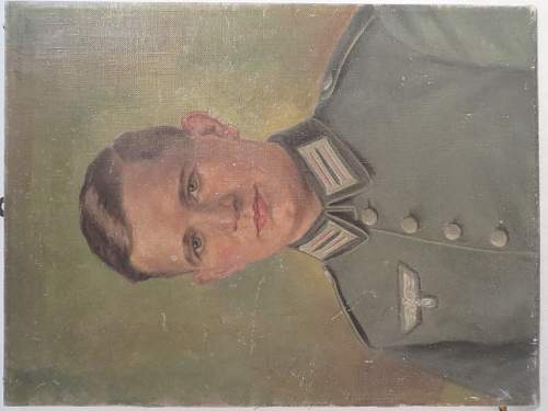 Portrait of soldier in oil paint.
