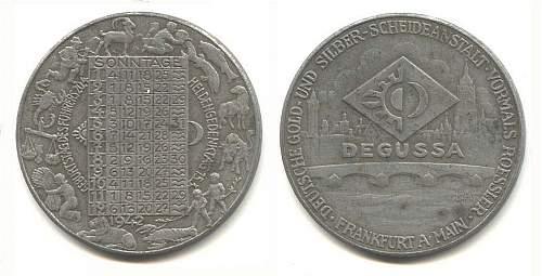 Degussa calendar medals.