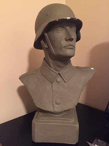 Large ceramic bust of a German soldier