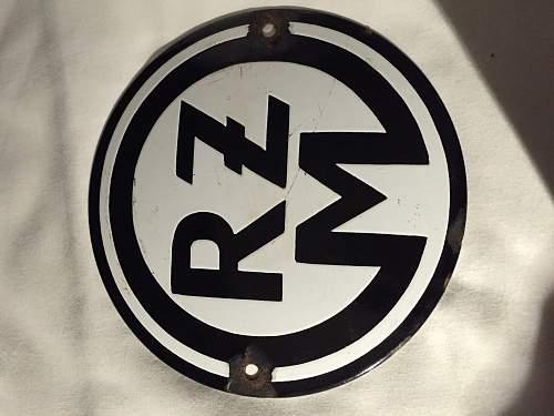 RZM Enamel sign