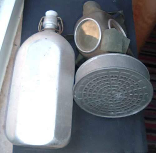 WW1 German Water Canistor- I think? + WW2 Civilian Gasmask