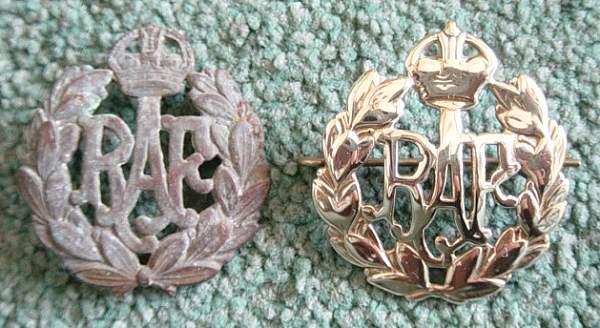 RAF cap badge found inside a wall.