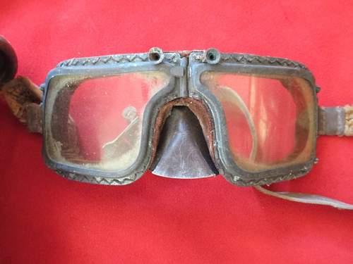 Early RAF Flying Helmet & Goggles