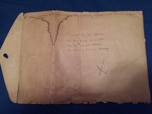 P.O.W. flag and envelope from W.W.I