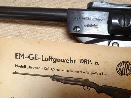 Em Ge air rifle gez. NDH 1943 licence