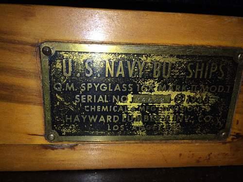 WWII USN Clock, Cased Telescope & Sextant