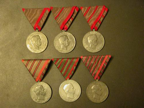 Austro Hungarian Wound Medals (VERWUNDETENMEDAILLE) Complete Set.