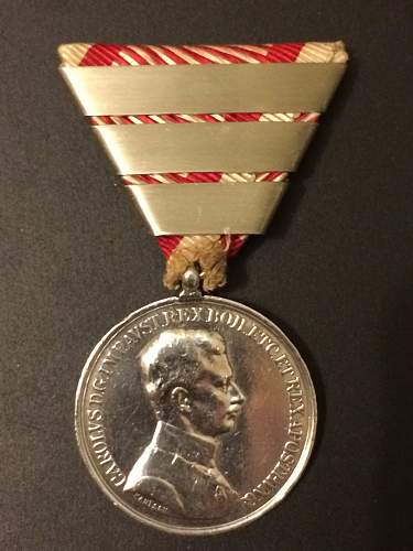 Austro Hungarian Small Silver Bravery Medal with 2 Bars.