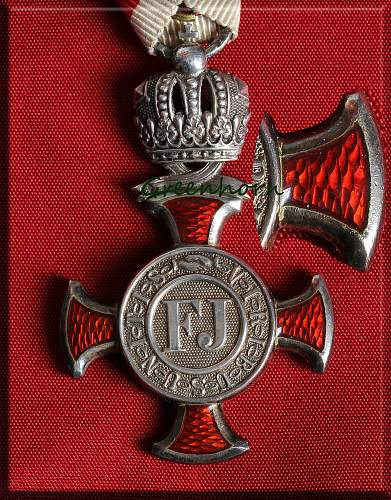 Silver Cross of Merit with Crown & swords and ribbon