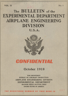 1918 Bulletin of the Experimental Dept Airplane Engineering Division USA