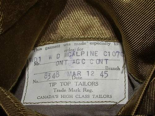 Click image for larger version.  Name:RCAF WO SD Tunic Tailor's Label 2.JPG Views:164 Size:126.9 KB ID:258906
