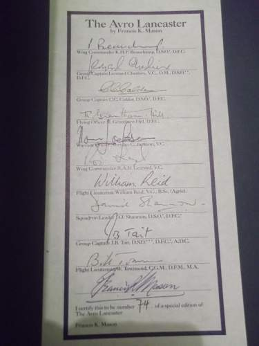 Copy of The Avro Lancaster by Francis Mason, signed by Bomber Command VC winners and Vets