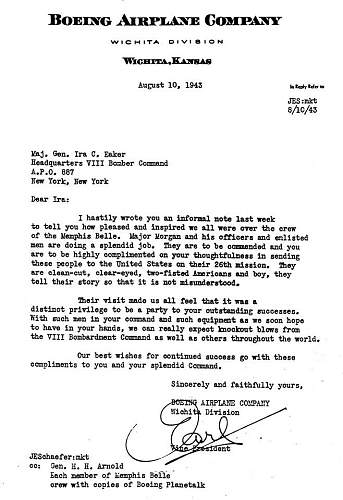 Letter from Boeing about the crew of the Memphis Belle