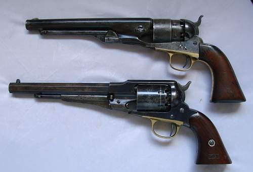 Click image for larger version.  Name:Model 1860 Colt Army and New Model 1858 Remington Army revolvers..jpg Views:8220 Size:93.7 KB ID:73181