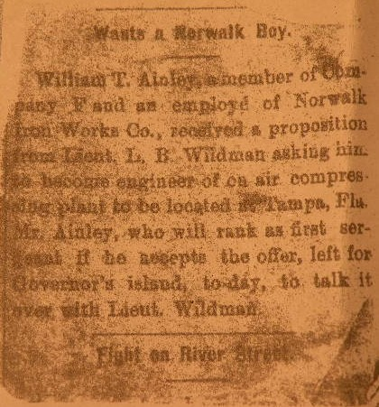 1st. Sgt. William T. Ainley, Spanish American War, Signal Corps Balloonist