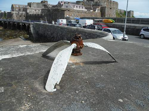Sea recovered propeller Guernsey channel islands.