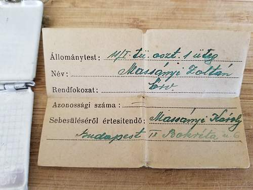 Paperwork inside of Hungarian Dog Tags - Great condition