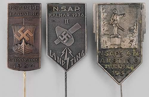 Swedish NSAP rally pins