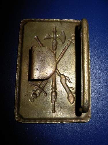 Spanish african army belt buckle from blue division positions , leningrad front