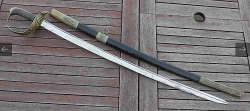 Prewar Royal Hungarian River Flottilla Officer's engraved sword, 100% original Prewar ?