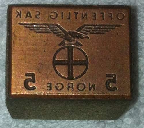 Norwegian NS Cap Badge and Stamper! URGENT!