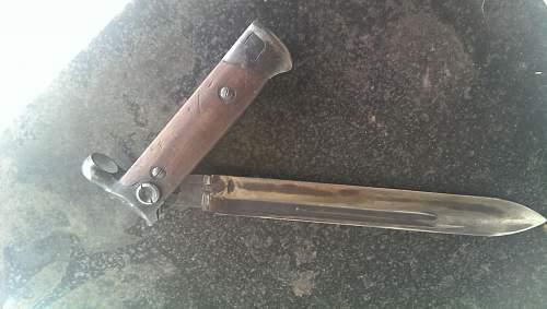 Authentic WW II Italian Folding Carcano Bayonet 1938 with scabbard