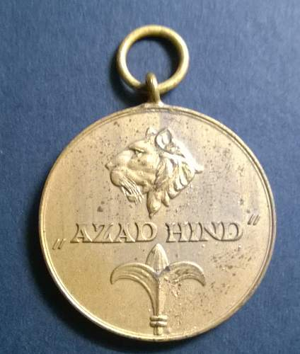 AZAD HIND zinc gilded medal....date and value please....
