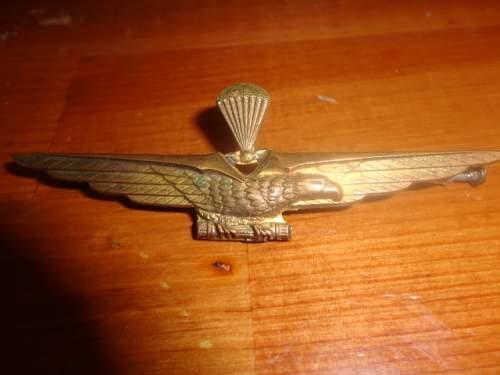 1935-1943 Italian Paratrooper Brass Badge