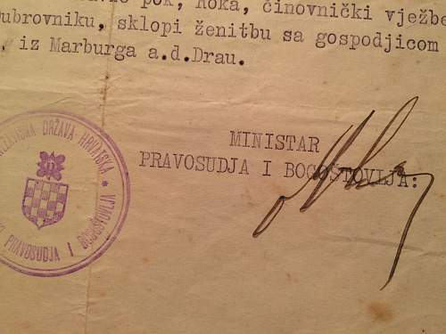"""Ustasha document signed by a """"minister"""""""